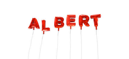 wording: ALBERT - word made from red foil balloons - 3D rendered.  Can be used for an online banner ad or a print postcard.
