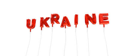 UKRAINE - word made from red foil balloons - 3D rendered.  Can be used for an online banner ad or a print postcard. Stock Photo