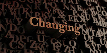 wording: Changing - Wooden 3D rendered lettersmessage.  Can be used for an online banner ad or a print postcard.