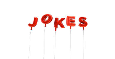 jokes: JOKES - word made from red foil balloons - 3D rendered.  Can be used for an online banner ad or a print postcard. Stock Photo