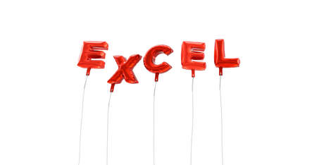 EXCEL - word made from red foil balloons - 3D rendered.  Can be used for an online banner ad or a print postcard.