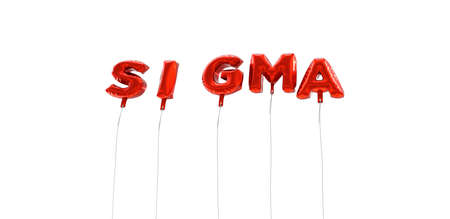 SIGMA - word made from red foil balloons - 3D rendered.  Can be used for an online banner ad or a print postcard.