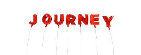 wording: JOURNEY - word made from red foil balloons - 3D rendered.  Can be used for an online banner ad or a print postcard.