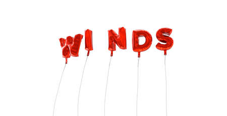wording: WINDS - word made from red foil balloons - 3D rendered.  Can be used for an online banner ad or a print postcard. Stock Photo