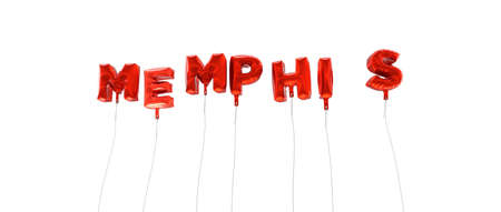 wording: MEMPHIS - word made from red foil balloons - 3D rendered.  Can be used for an online banner ad or a print postcard. Stock Photo