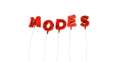 modes: MODES - word made from red foil balloons - 3D rendered.  Can be used for an online banner ad or a print postcard. Stock Photo