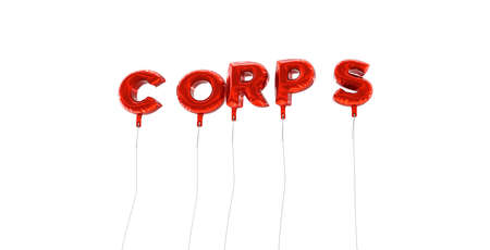corps: CORPS - word made from red foil balloons - 3D rendered.  Can be used for an online banner ad or a print postcard. Stock Photo