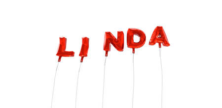 linda: LINDA - word made from red foil balloons - 3D rendered.  Can be used for an online banner ad or a print postcard.