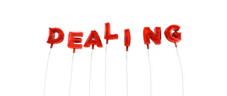 dealing: DEALING - word made from red foil balloons - 3D rendered.  Can be used for an online banner ad or a print postcard.