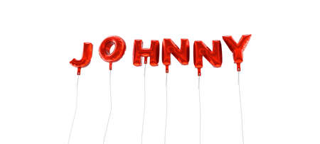 JOHNNY - word made from red foil balloons - 3D rendered.  Can be used for an online banner ad or a print postcard.