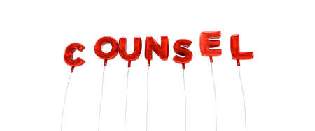 wording: COUNSEL - word made from red foil balloons - 3D rendered.  Can be used for an online banner ad or a print postcard.
