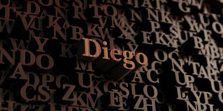 wording: Diego - Wooden 3D rendered lettersmessage.  Can be used for an online banner ad or a print postcard.