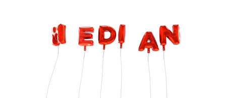 median: MEDIAN - word made from red foil balloons - 3D rendered.  Can be used for an online banner ad or a print postcard.