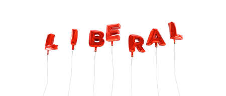 liberal: LIBERAL - word made from red foil balloons - 3D rendered.  Can be used for an online banner ad or a print postcard.