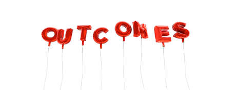 outcomes: OUTCOMES - word made from red foil balloons - 3D rendered.  Can be used for an online banner ad or a print postcard.