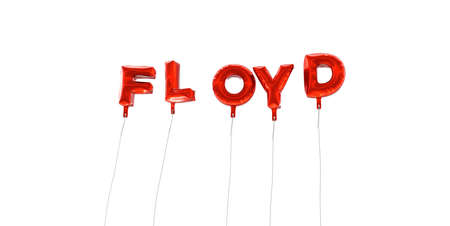 FLOYD - word made from red foil balloons - 3D rendered.  Can be used for an online banner ad or a print postcard.