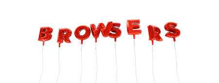 browsers: BROWSERS - word made from red foil balloons - 3D rendered.  Can be used for an online banner ad or a print postcard.