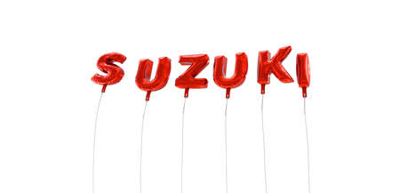 SUZUKI - word made from red foil balloons - 3D rendered.  Can be used for an online banner ad or a print postcard.