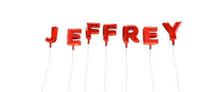 jeffrey: JEFFREY - word made from red foil balloons - 3D rendered.  Can be used for an online banner ad or a print postcard.