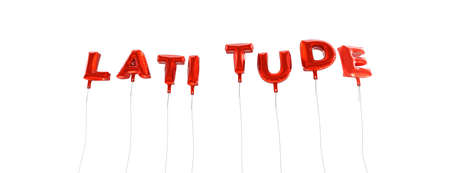 latitude: LATITUDE - word made from red foil balloons - 3D rendered.  Can be used for an online banner ad or a print postcard.