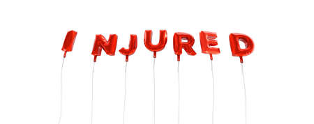 injured: INJURED - word made from red foil balloons - 3D rendered.  Can be used for an online banner ad or a print postcard.