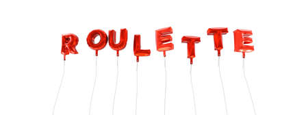 online roulette: ROULETTE - word made from red foil balloons - 3D rendered.  Can be used for an online banner ad or a print postcard.