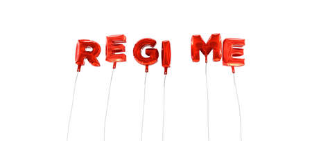 regime: REGIME - word made from red foil balloons - 3D rendered.  Can be used for an online banner ad or a print postcard.