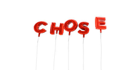 chose: CHOSE - word made from red foil balloons - 3D rendered.  Can be used for an online banner ad or a print postcard.