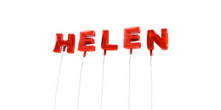 helen: HELEN - word made from red foil balloons - 3D rendered.  Can be used for an online banner ad or a print postcard.