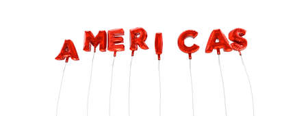 americas: AMERICAS - word made from red foil balloons - 3D rendered.  Can be used for an online banner ad or a print postcard.