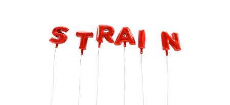 strain: STRAIN - word made from red foil balloons - 3D rendered.  Can be used for an online banner ad or a print postcard.
