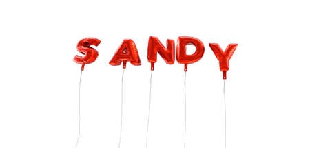 SANDY - word made from red foil balloons - 3D rendered.  Can be used for an online banner ad or a print postcard. Stock Photo
