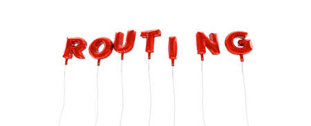 ROUTING - word made from red foil balloons - 3D rendered.  Can be used for an online banner ad or a print postcard.