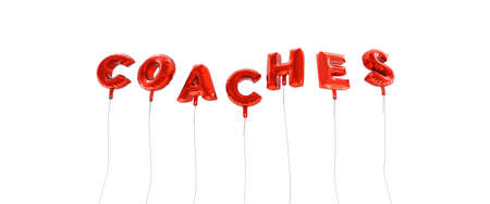 wording: COACHES - word made from red foil balloons - 3D rendered.  Can be used for an online banner ad or a print postcard. Stock Photo