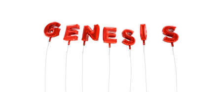 genesis: GENESIS - word made from red foil balloons - 3D rendered.  Can be used for an online banner ad or a print postcard.