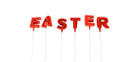 wording: EASTER - word made from red foil balloons - 3D rendered.  Can be used for an online banner ad or a print postcard.