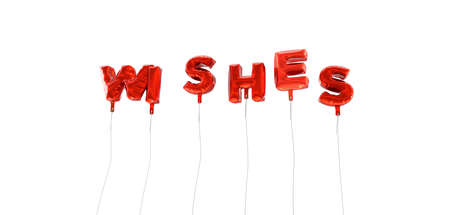 wording: WISHES - word made from red foil balloons - 3D rendered.  Can be used for an online banner ad or a print postcard.