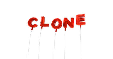 clone: CLONE - word made from red foil balloons - 3D rendered.  Can be used for an online banner ad or a print postcard.