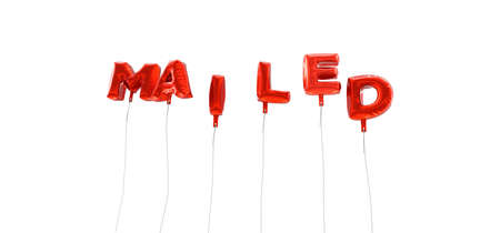 mailed: MAILED - word made from red foil balloons - 3D rendered.  Can be used for an online banner ad or a print postcard.