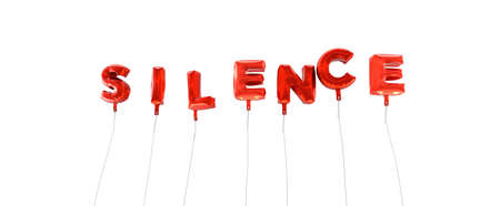 silence: SILENCE - word made from red foil balloons - 3D rendered.  Can be used for an online banner ad or a print postcard.