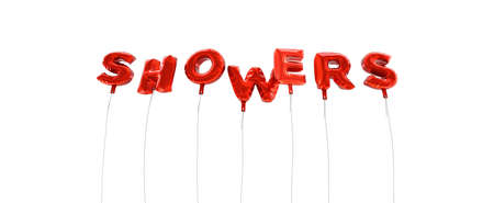 wording: SHOWERS - word made from red foil balloons - 3D rendered.  Can be used for an online banner ad or a print postcard. Stock Photo