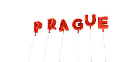 wording: PRAGUE - word made from red foil balloons - 3D rendered.  Can be used for an online banner ad or a print postcard. Stock Photo