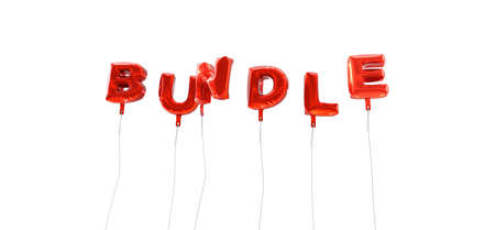 wording: BUNDLE - word made from red foil balloons - 3D rendered.  Can be used for an online banner ad or a print postcard.