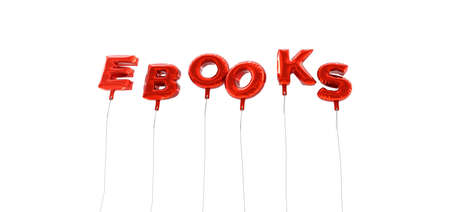 wording: EBOOKS - word made from red foil balloons - 3D rendered.  Can be used for an online banner ad or a print postcard.