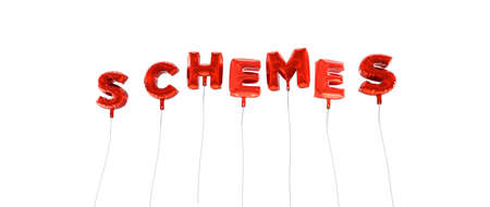 schemes: SCHEMES - word made from red foil balloons - 3D rendered.  Can be used for an online banner ad or a print postcard.