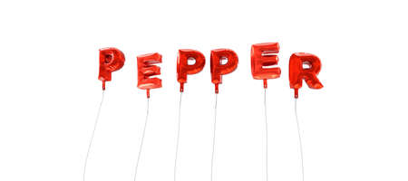 wording: PEPPER - word made from red foil balloons - 3D rendered.  Can be used for an online banner ad or a print postcard.