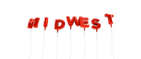midwest: MIDWEST - word made from red foil balloons - 3D rendered.  Can be used for an online banner ad or a print postcard.
