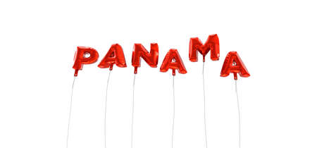 wording: PANAMA - word made from red foil balloons - 3D rendered.  Can be used for an online banner ad or a print postcard.