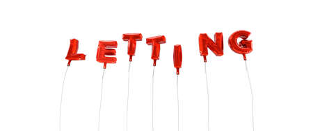 letting: LETTING - word made from red foil balloons - 3D rendered.  Can be used for an online banner ad or a print postcard.