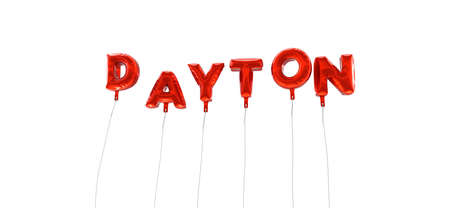 wording: DAYTON - word made from red foil balloons - 3D rendered.  Can be used for an online banner ad or a print postcard.